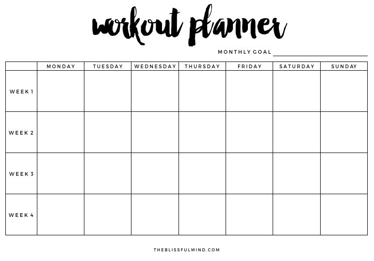 blank workout schedule
