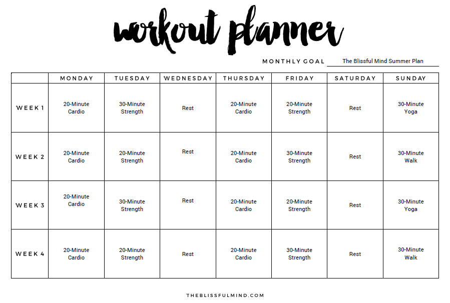 Summer Workout Planner