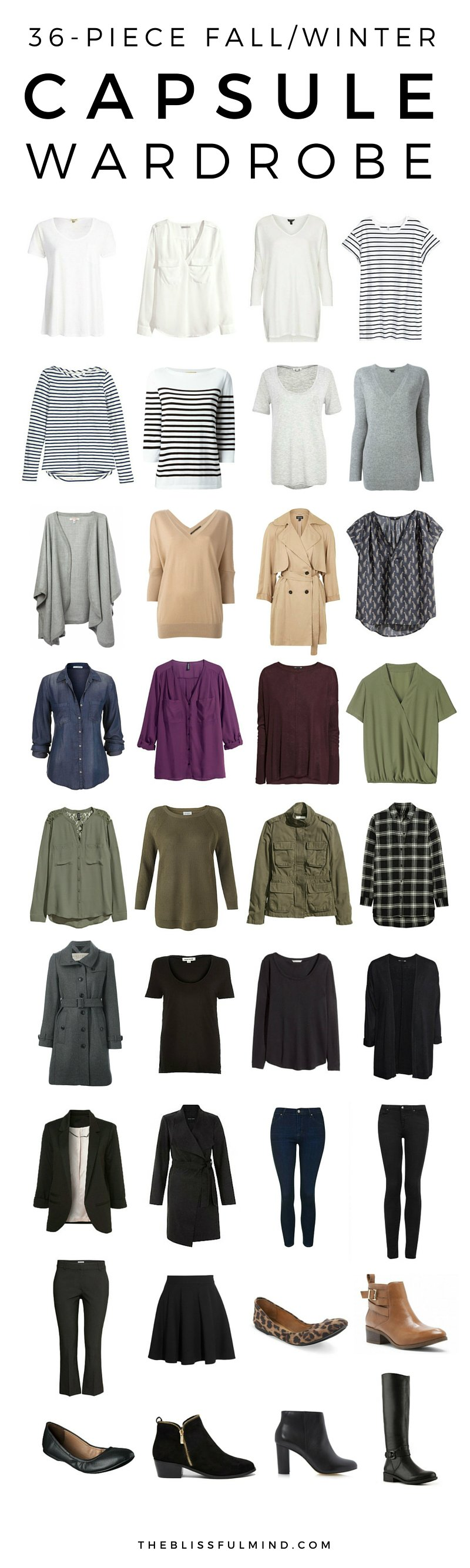 36 piece fall winter capsule wardrobe the blissful mind