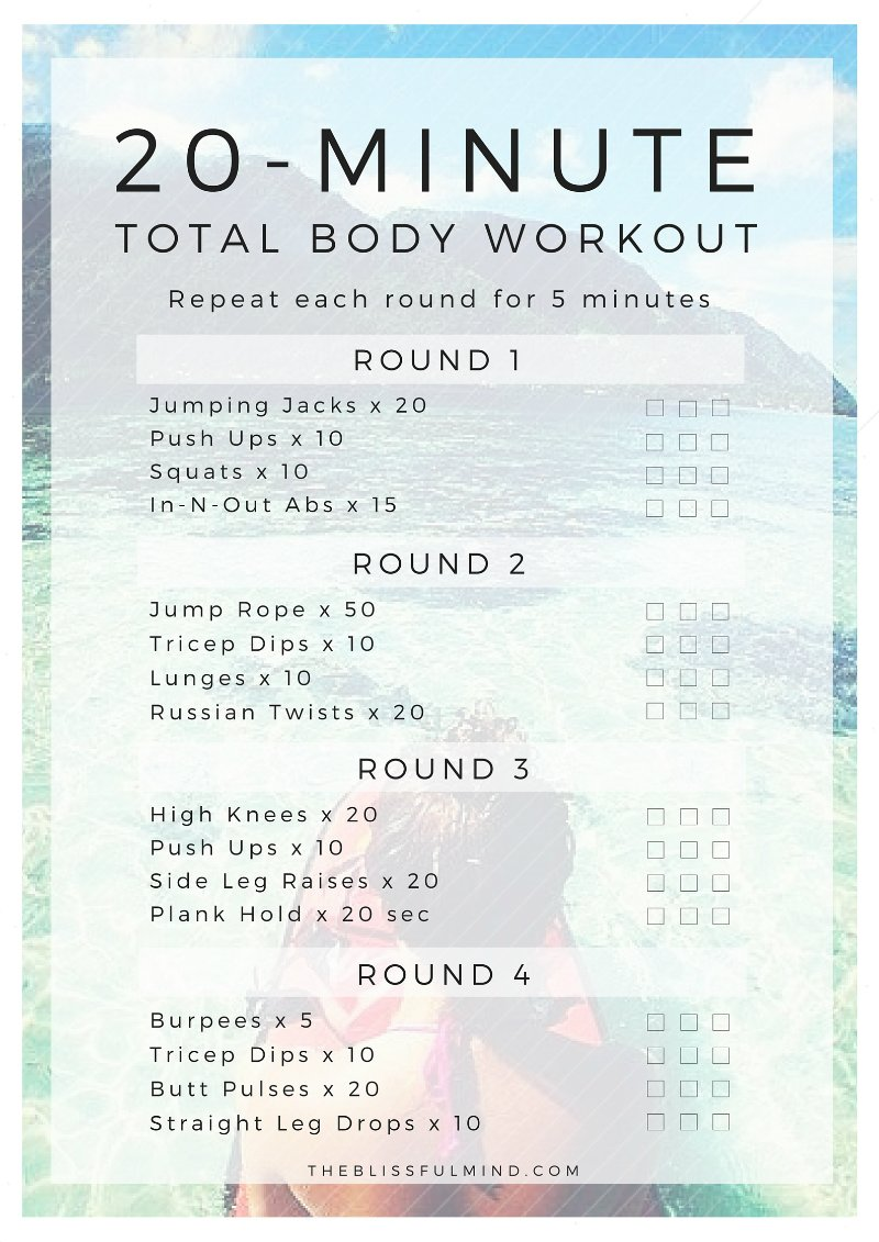 20-Minute Total Body Workout Printable