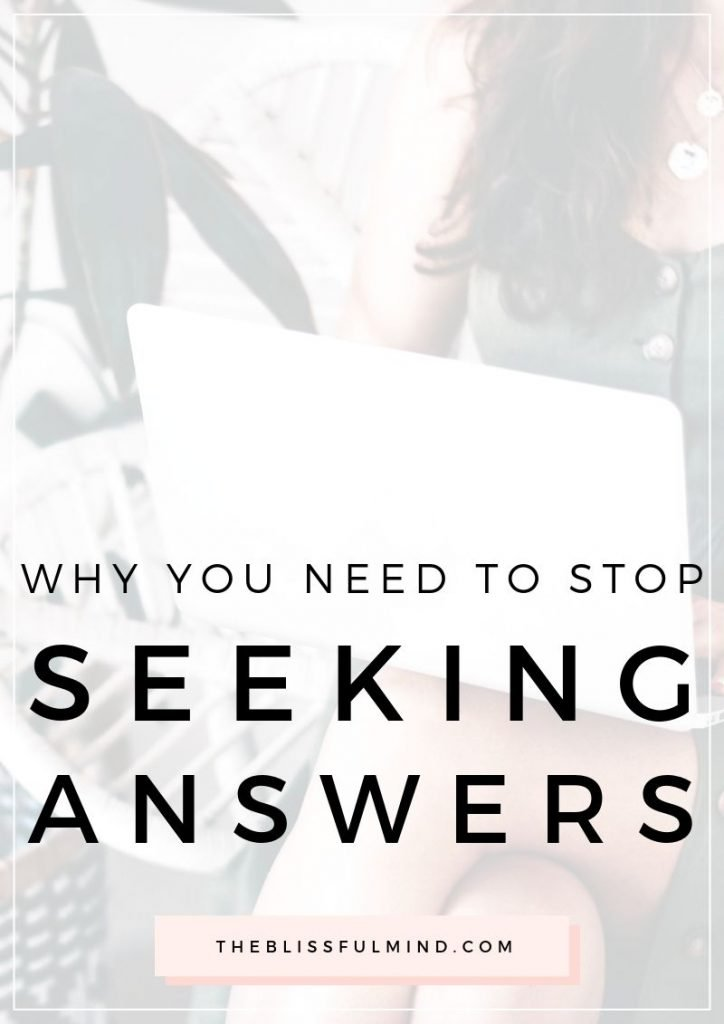 Why You Need To Stop Searching for Answers