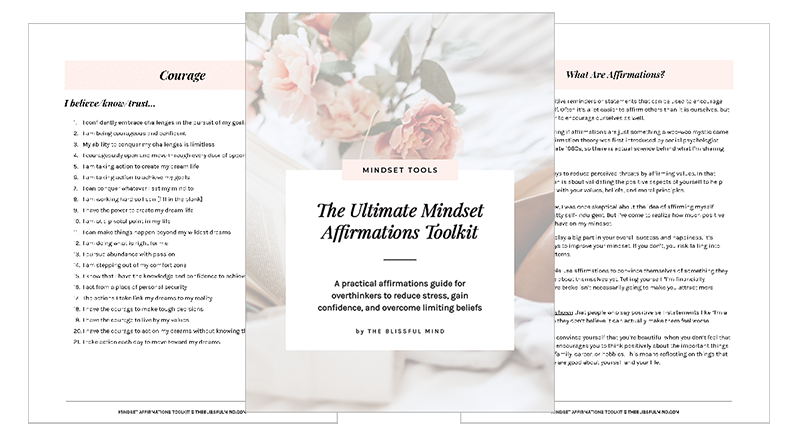 Mindset Affirmations Page Preview